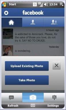 facebook panel xperia x1