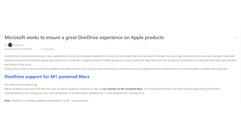 onedrive m1 support